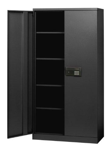 "Sandusky Lee KDE7236-09 Black Steel SnapIt Storage Cabinet, Keyless Electronic Lock, 4 Adjustable Shelves, 72"" Height x 36"" Width x 18"" Depth"