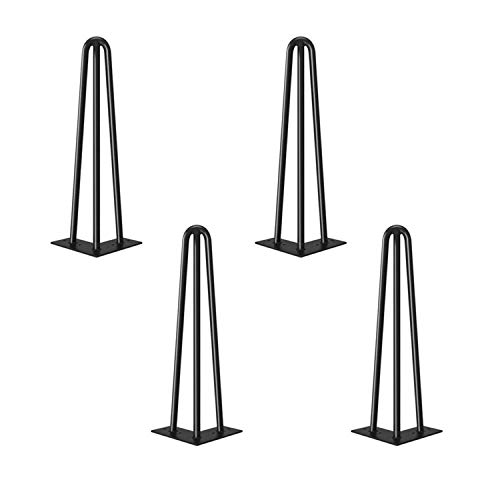 4 Patas de la mesa Hairpin Patas a Horquilla Para Mesa de Acero Robustas Con Tornillos y Bases Protectoras (30cm (12 pulgadas) -10mm - Mesa de centro)