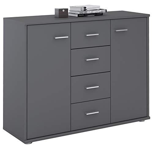 CARO-Möbel Sideboard Jamie Kommode Büromöbel mit 2 Türen und 4 Schubladen in anthrazit grau