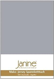 Janine Mako 5007 Drap-housse en jersey de coton mako Platine (28) 140 x 200 cm à 160 x 200 cm