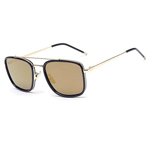 linyuan 1790mujeres Square gafas de sol retro classic–Funda Vintage Fashion Shades UV400 dorado