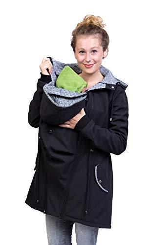 Viva la Mama - Jacke Herbst Winter Babytragen vorn und hinten Rückentragejacke Umstandsjacke Softshell - PINA schwarz abstrakt - M