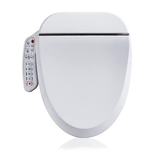 Electronic Smart Bidet Toilet Seat| Self Cleaning Hydroflush | Hybrid Heating | Heated Dryer | Nightlight | Vortex Wash, White (Round)