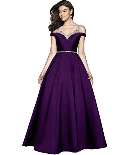 Damen Abendkleider Ballkleid Lang Satin Brautkleid Prinzessin Hochzeitskleid Partykleid A-Linie Festkleid Traube 46