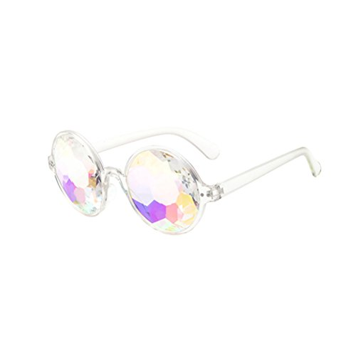 BESTOYARD Kaleidoskop Brille, Regenbogen Sonnenbrille Festivals Rave Brille Karneval Kostüm Zubehör (Transparenten Rahmen ohne Löcher)
