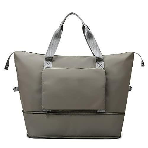 WXLQ - Borsone da viaggio pieghevole di grande capacità, separazione asciutta e bagnata, borsa a tracolla portatile, da viaggio, leggera, impermeabile, pieghevole, borsa da viaggio (grigio)