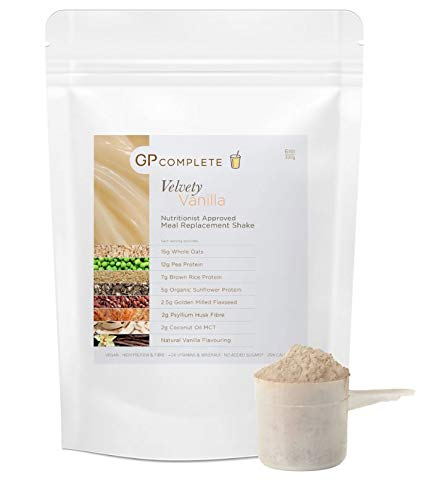 GP Complete - Diet Meal Replacement Shake - Velvety Vanilla - Vegan - Nutritionally Complete Meal - High Protein + Fibre - No Added Sugar - 24 Vits & Mins - Dairy Free
