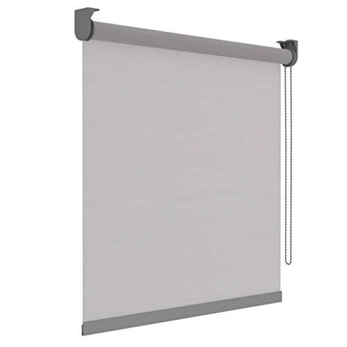DECOSOL Rollo Lichtdurchlässig Weiß Streifen 150x190cm Fensterrollo Klemmrollo