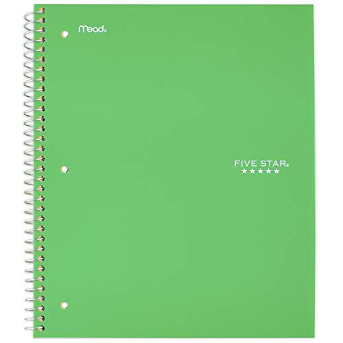 """Five Star Spiral Notebook, 3 Subject, Wide Ruled Paper, 150 Sheets, 10-1/2"""" x 8"""", Color Selected For You, 1 Count (05204)"""