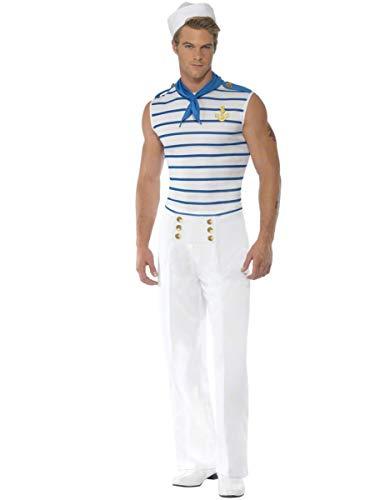 Generique - Seemanns-Kostüm für Herren Weiss-blau M