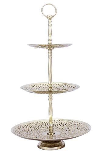 Orientalische Etagere 3 Etagen aus Metall Aghdas Silber 50cm Hoch | Etageren als Ständer für Obst Muffin Cupcake oder Kuchen | Marokkanische Dekoration auf dem gedeckten Tisch in Ihre Hochzeit