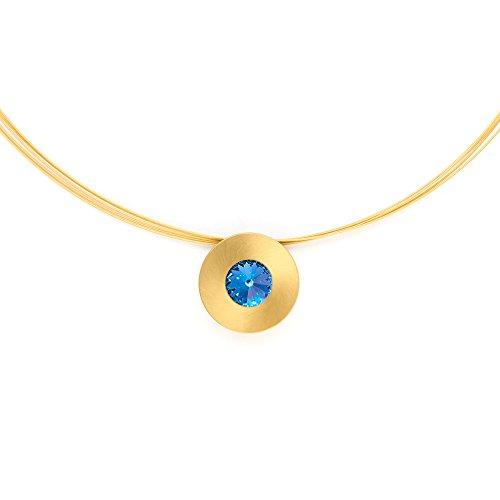 Heideman Halskette Damen Lumen aus Edelstahl Gold farbend matt Kette für Frauen mit Swarovski Stein Kristall Saphir hell blau im Fantasie Edelsteinschliff