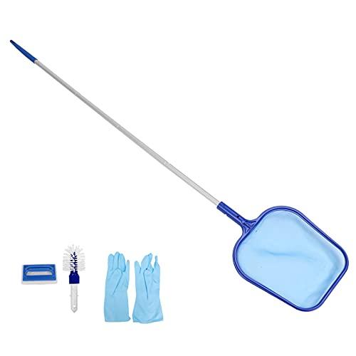 Red skimmer para piscina, herramienta de limpieza de rastrillo de hojas de alta resistencia, recogedor de bolsas de red de malla fina, con accesorios de guantes de cepillo de esponja de poste