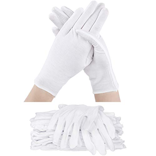 60 Pieces Cotton Glove Soft Stretchy Working Glove Costume Reusable Large Mitten (White)