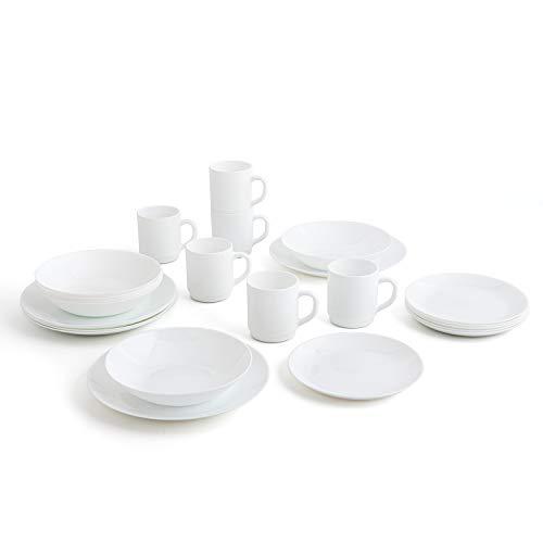 Arcopal Weißes Geschirrset für 6 Personen 24 Teile flach, tief, 6 Dessertteller und 6 Tassen, Opalglas, Einzigartig