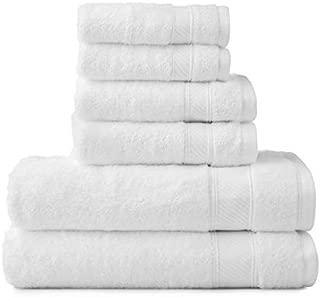 Wamsutta 6-Piece Hygro Duet Bath Towel Set Includes Washcloths,Hand Towels Bath Towels (White)