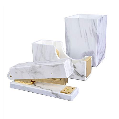 MultiBey Desk Organizers Set Rose Gold Stapler Staples Tape Dispenser Pen Pencil Holder Marble White Texture Home N Office Supplies (Gold)