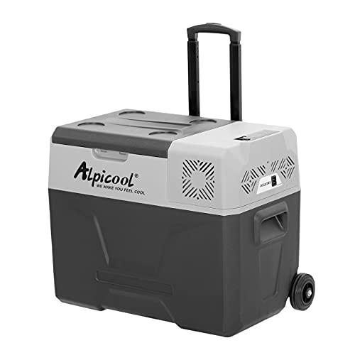 Alpicool CX40 40 Liter Kühlbox 12V tragbarer Kühlschrank elektrische Gefrierbox klein Gefrierschrank für Auto camping, Lkw, Boot und Steckdose mit USB-Anschluss/Teleskopstange/Rad
