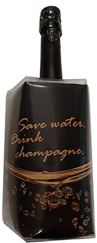 BierEx Flaschenkühler Champagner Campagnerkühler Sektkühler Weinkühler Getränkekühler Kühlakku Kühlmanschette - Motiv Champagner-Spruch