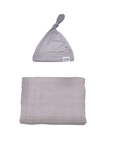 Cute New York Swaddle Blanket and Infant Hat Set, Girls & Boys, Unisex, Baby Receiving Swaddles, Ideal Newborn & Infant Swaddling Set, Newborn Shower Gifts, (Grey Set)