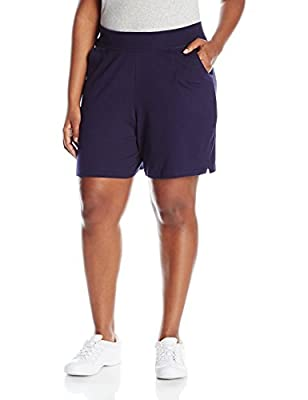 Just My Size Women's Plus Cotton Jersey Pull-On Shorts - 2X Plus - Navy