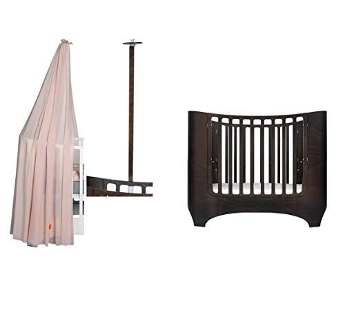 Leander Baby- und Kinderbett - walnuss + Himmelgestell in walnuss + Himmel in dusty rose