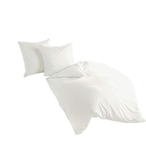 Bierbaum hochwertige Uni Fein Biber Bettwäsche 2 tlg. 135x200cm einfarbig Weiß 100% Baumwolle