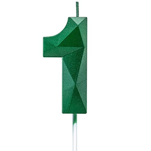 Willcan 2.75in 3D Diamond Shape Tall Green 1 Candles, Glitter 1 Green Color Happy Birthday Cake Toppers Decorating and Celebrating for Adults/Kids Party/Family Baking (2.75in Green Number 1)