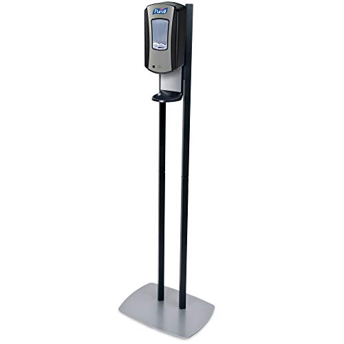 PURELL LTX-12 Dispenser Floor Stand, Chrome and Black Stand with PURELL LTX-12 Hand Sanitizer Dispenser (Pack of 1) - 7028-DS
