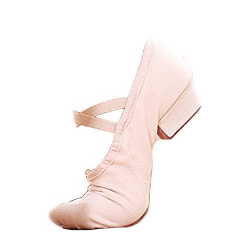 DAIYO Frauen weiche Leinwand Ballettschuhe rutschfeste Bottom Latin Tanze Praxis Schuhe mit niedrigen Absätzen