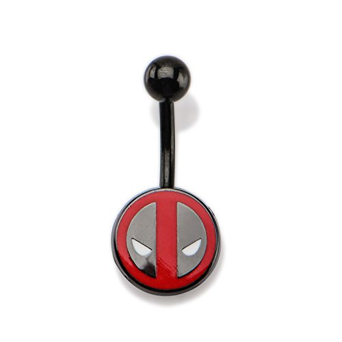 Marvel 14g 7/16 Black PVD Plated Navel with Fixed Deadpool Logo Belly Ring