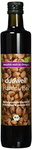 GloboVita GmbH Duowell Hanfnussöl DAS ÖL 500 ml - Bio Hanföl kaltgepresst, nativ, Omega-3 reich