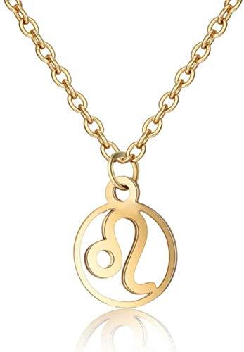 NC110 Stone Necklace Elegant Constellation Zodiac Leo Coin Pendant Golden Anchor Chain Men Women Energy Balance Birthstone Gem Jewelry Gifts