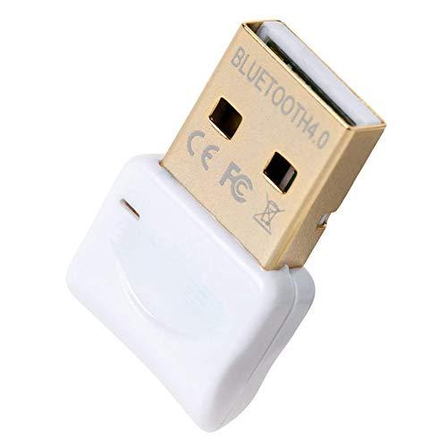Adaptador Bluetooth para PC, USB 4.0 Bluetooth Dongle Transmisor Receptor Inalámbrico para Auriculares Altavoz Teclado Computadora Portátil Estéreo Mouse Compatible con Win 7 8 10 XP Vista (BLANCO)