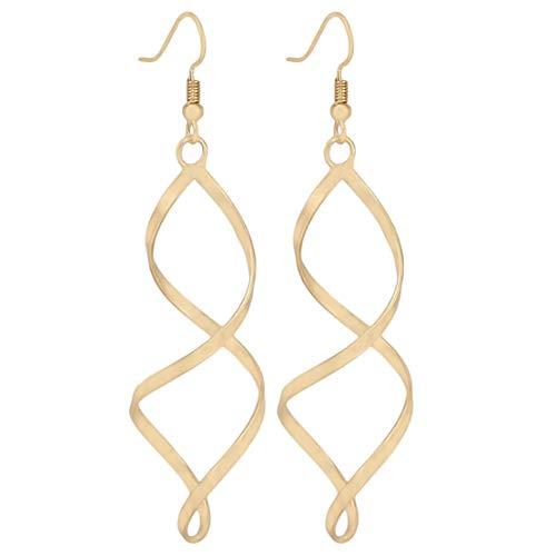 Botreelife Élégant Spirale Pendentif Boucles D'oreilles Courbe en forme de Boucles D'oreilles Goujons pour Femmes Bijoux, Doré
