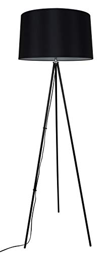 Solight Milano Tripode - Lámpara de pie (155 cm, E27, acero, 60 W, tamaño grande), color negro