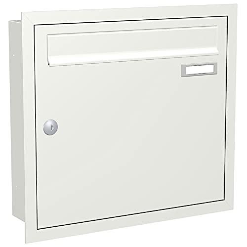 Max Knobloch - Cassetta delle lettere da montare a filo della parete, colore bianco, RAL 9016) 12