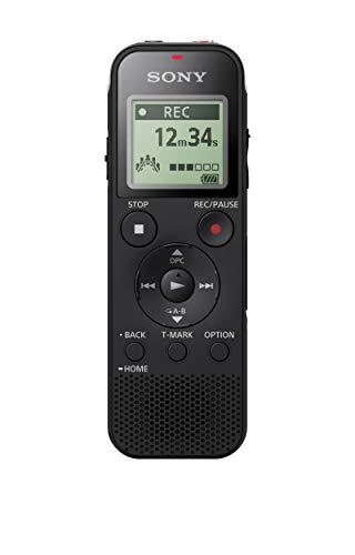 Sony ICD-PX470 Registratore Digitale Stereo, Riduzione Rumori Sottofondo, Altoparlante Integrato, Jack Cuffie e Microfono, Memoria 4 GB + Slot microSD, USB Integrato, Batteria fino a 55 Ore, Nero