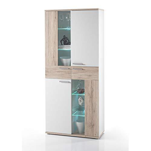 Möbel Akut Vitrine Schrank Glasvitrine Due weiß Eiche San Remo Standvitrine inkl. LED 84 cm