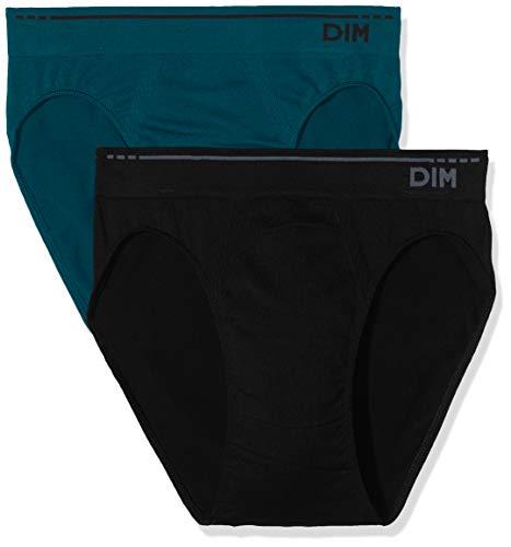 Unno DIM Basic Algodón Sin Costuras Slip Pack X2 Dim Basic, Color Negro (Vert Pin/Noir), Medium (Tamaño del Fabricante:3) 2 para Hombre