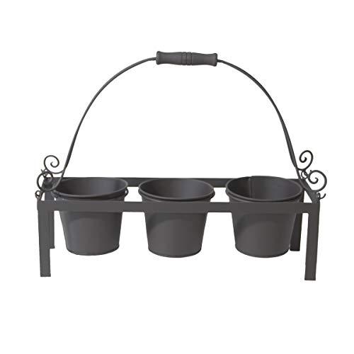 Pflanzetagere Potafleurs aus Metall in schwarz mit 3 Töpfen von Varia Living | als Pflanzregal einsetzbar im Garten, auf Balkon oder in Küche auf dem Fensterbrett | Regal für Blumentöpfe