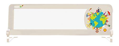 Asalvo 12654 - Barrera de Cama 2 en 1, Diseño Niños del Mundo, Beige