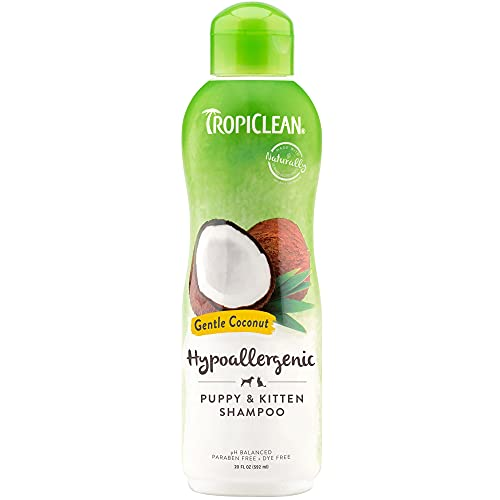 TropiClean Gentle Coconut Hypoallergenic Puppy and Kitten Shampoo, 20oz - Gentle Cleansing for Dogs & Cats with Sensitive Skin - Made in the USA - Soap & Paraben Free