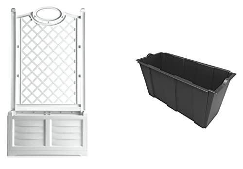 Jardinera con espaldera separada blanca 80 x 42 x 150 cm + maceta interior