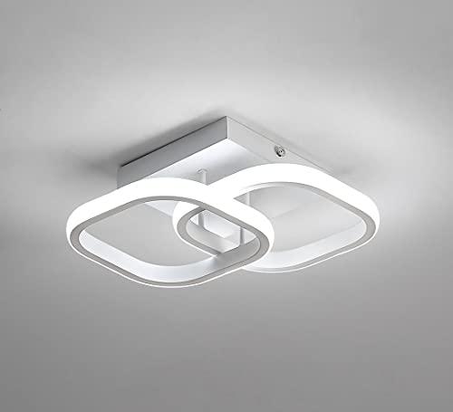 Osairous Plafoniera a LED, Lampada da soffitto moderna 22W, Lampadario acrilico a 2 LED quadrati bianca, plafoniera per sala da pranzo, cucina studio, luce bianca fredda / 6000K