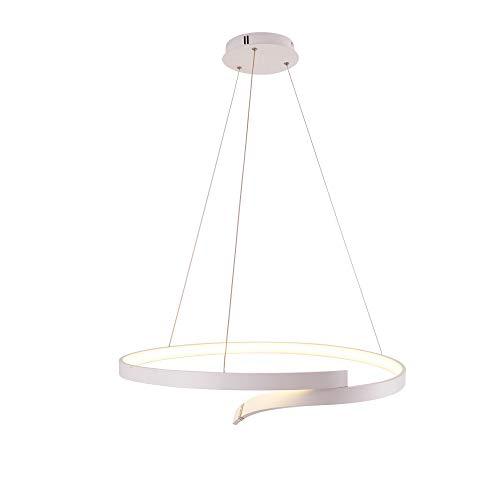 Pendentif lumières LED 1-Ring Design table à manger avec télécommande hauteur réglable, Handol lampe salle à manger piscine cuisine lumière, lustre rond éclairage Living Lampe moderne blanc