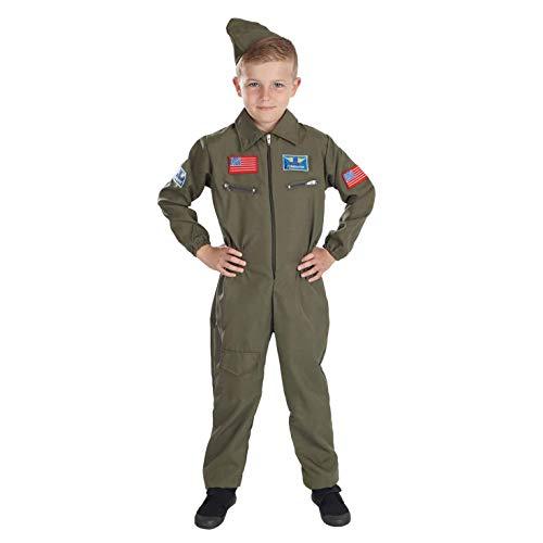 Fun Shack Verde Piloto De Combate Disfraz para Nios - S