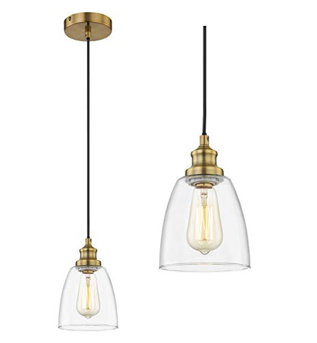 WOXXX Brass Pendant Lighting for Kitchen Island Bedroom Industrial Farmhouse Pendant Light with Clear Glass Shade Ceiling Light Fixture Hanging Lamp One-Light Adjustable Mini Pendant Light Fixture
