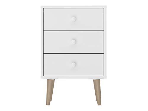 Amazon Basics - Mesita de noche, 45 x 38 x 68 cm, blanco
