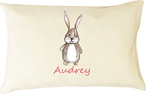 DorDor & GorGor Personalized Toddler Pillow with Watercolor Pillowcase, Ultra Soft Organic Cotton, Giftable Box, 13 X 18 inches, Bunny